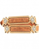Ariat Basketweave & Smooth Leather Inlay Concho Studded Belt