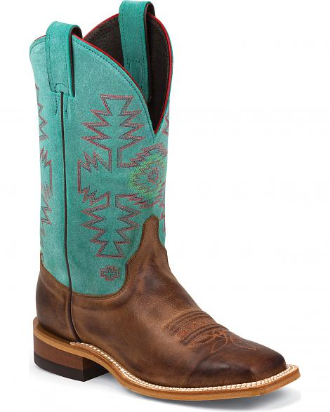 Justin Bent Rail Woman´s Dark Brown Boots with Light Blue Top