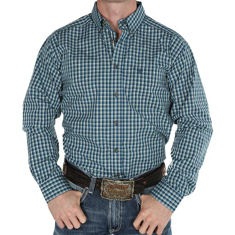Ariat Navy and Green Plaid Shirt