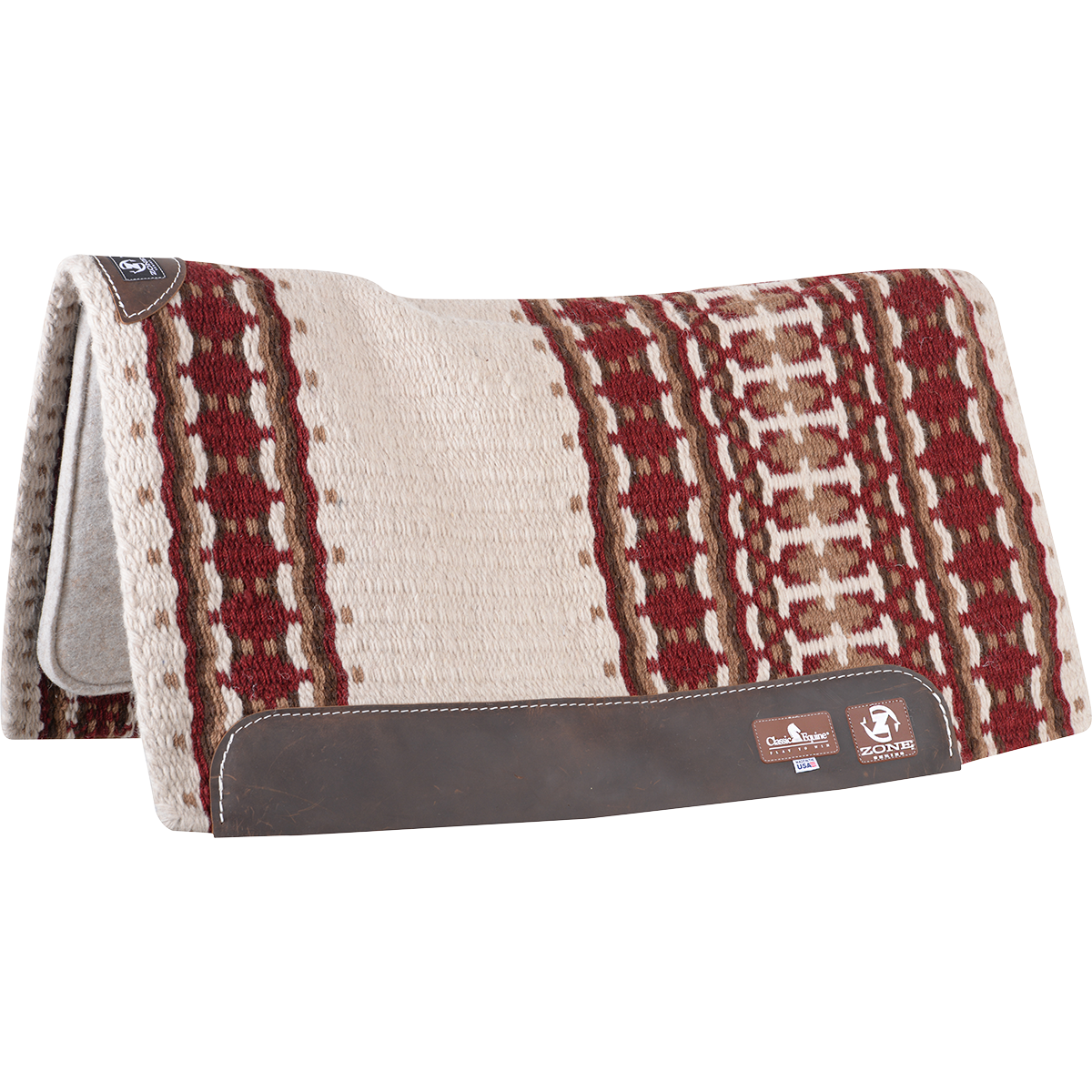 "Classic Equine Zone Wool Top Zoombang Pad 34x38"" - 3/4"" (2019 - Ivory/Crimson)"