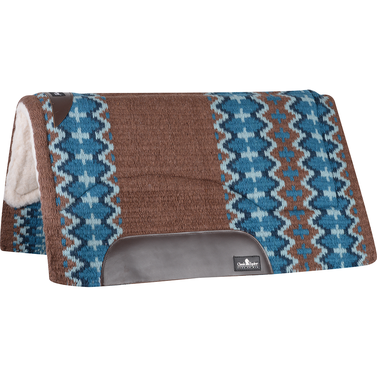 "Classic Equine SensorFlex Wool Top Pad (Merino) 32x34"" (Brown/Navy)"