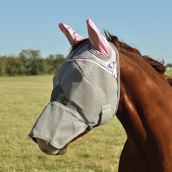 Cashel Fly Mask Long Nose w/ears (Pink) - HORSE