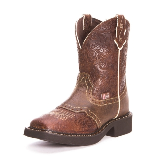 "Justin Ladies Gypsy Embossed 8"" Flower BROWN"
